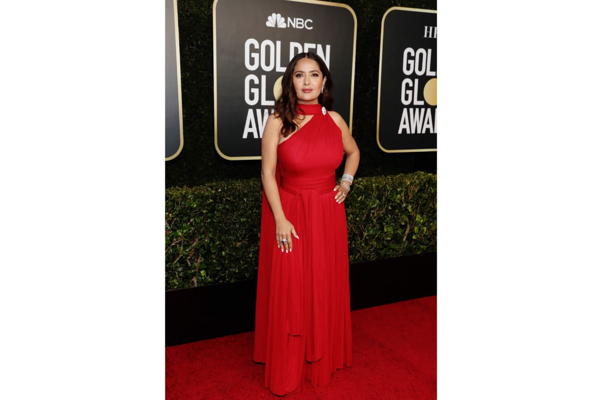 Salma Hayek Pinault Wearing Beautiful Alexander McQueen Dress To The 78th Annual Golden Globes Awards